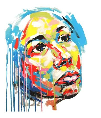 Original acrylic painting color portrait of women