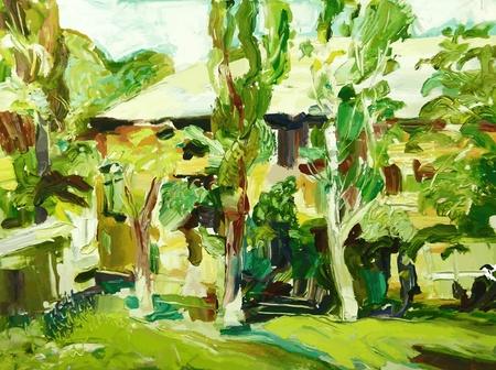 original oil painting spring village landscape