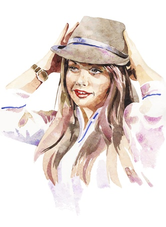 watercolor portrait of young women with a hat