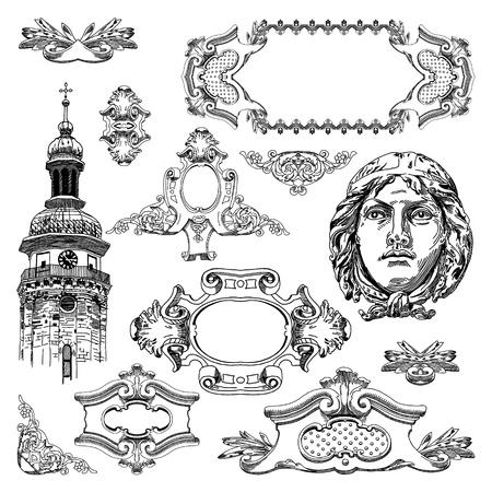 hand draw vintage sketch ornamental design element of Lviv historical building, Ukraine  Vector set  calligraphic design elements and page decoration