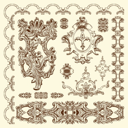 hand draw vintage sketch ornamental design element of Lviv historical building, Ukraine calligraphic design elements and page decoration