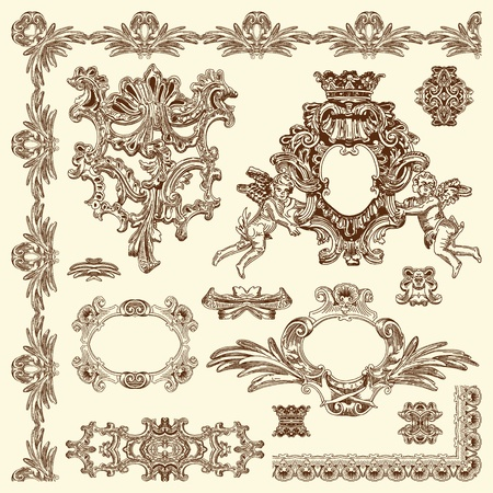 hand draw vintage sketch ornamental design element of Lviv historical building, Ukraine calligraphic design elements and page decoration