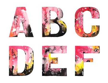 Illustration pour original handmade watercolor alphabet design illustration  - image libre de droit