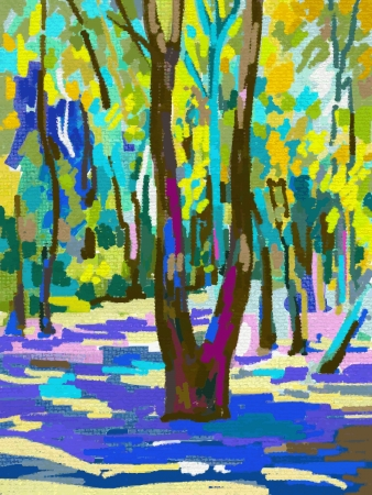 original digital painting of summer landscape