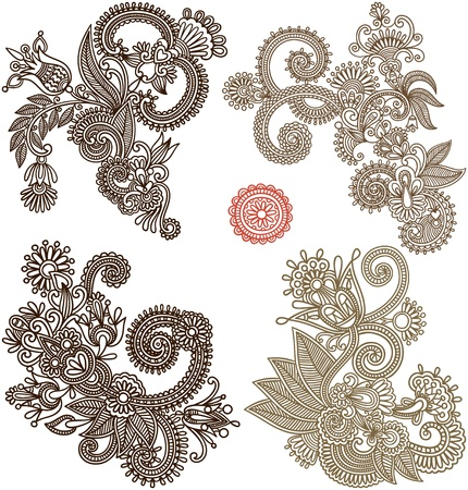 collection of hand draw line art ornate flower design. Ukrainian traditional style