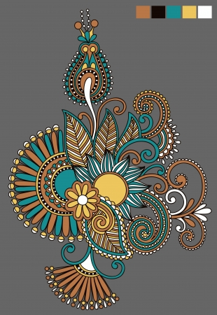 original hand draw line art ornate flower design. Ukrainian traditional style