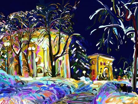 winter night cityscape digital painting