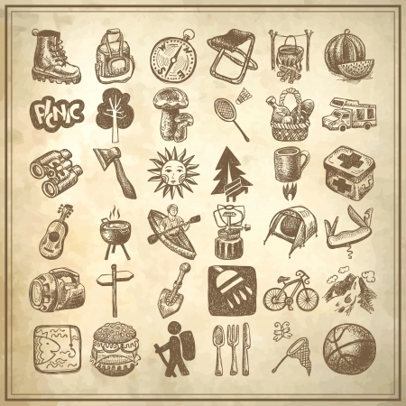 sketch doodle icon collection, picnic, travel and camping theme on grunge background