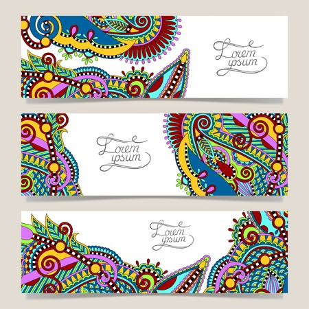 Set of three horizontal banners with decorative ornamental flowers, floral pattern in oriental style, paisley background, vector illustrationのイラスト素材