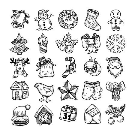 Illustration pour Set of black and white sketch drawing christmas doodle icons - image libre de droit