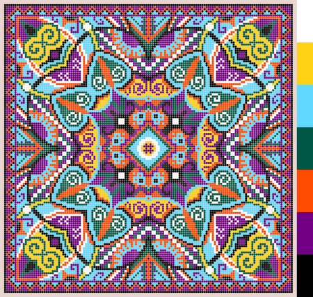 geometric square pattern for cross stitch ukrainian traditional embroidery, who like hand made and creation, pixel ornamental vector illustration