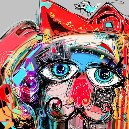 abstract digital artwork painting portrait of cat  mustaches with a bird on a head, doodle art vector illustration