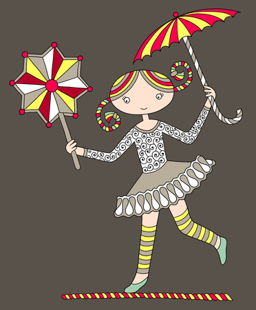 colored line art drawing of circus theme - pretty girl acrobat walking a tightrope with an umbrella and decorative star, vector illustration