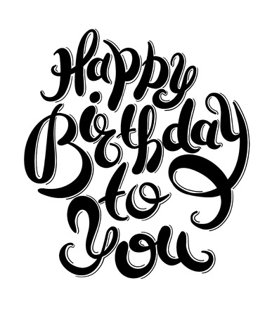 Ilustración de black and white hand lettering inscription typography template Happy Birthday to you, vector illustration for posters, cards, prints, balloons. - Imagen libre de derechos