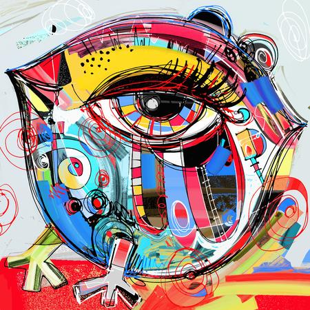 Illustration pour original abstract digital painting artwork of doodle bird, rooster, chiken, colored poster print pattern, vector illustration - image libre de droit