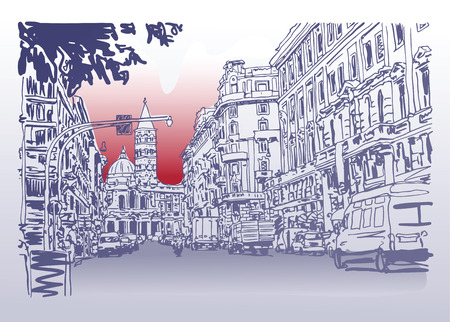 Illustration pour original urban architectural sketch drawing of Italy road cityscape building and cars, vector illustration - image libre de droit