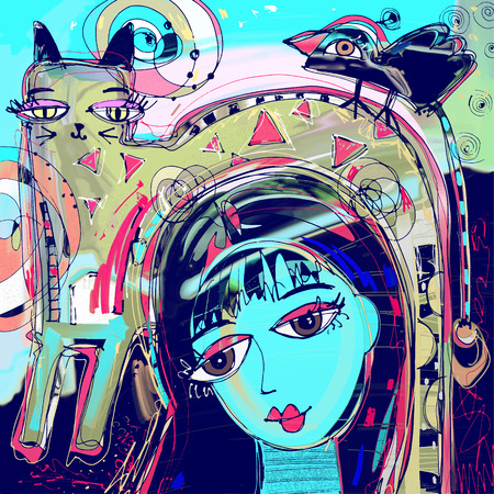 Illustration pour abstract digital painting of girl with a cat and bird on a head, colorful composition in contemporary modern art, perfect for interior design, page decoration, web and other, vector illustration - image libre de droit