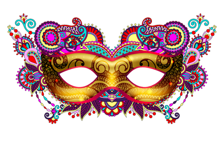 Illustration for 3d gold venetian carnival mask silhouette with ornamental floral - Royalty Free Image