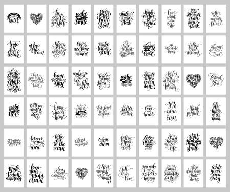 Illustration pour mega set of 60 hand written lettering positive inspirational quo - image libre de droit