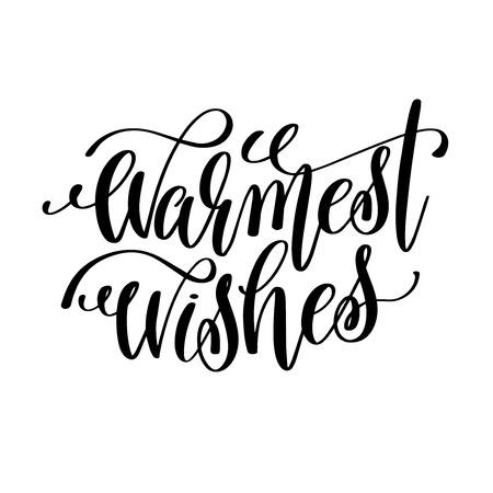 Illustration for warmest wishes hand lettering inscription to winter holiday - Royalty Free Image