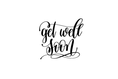 Illustration pour get well soon hand lettering inscription positive quote - image libre de droit