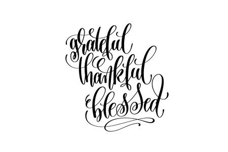 Illustration pour Grateful thankful blessed hand lettering inscription to thanksgiving - image libre de droit