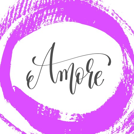 Amore hand lettering poster on pink brush stroke pattern