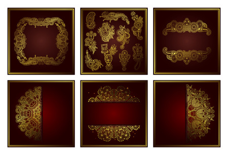 Illustration pour set of elegant gold line art ornamental lace circle pattern, design whis cut a paper for your greetings, invitations, announcements, vector illustration collection - image libre de droit