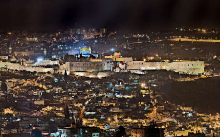 Night view over the old city of Jerusalem, Israel