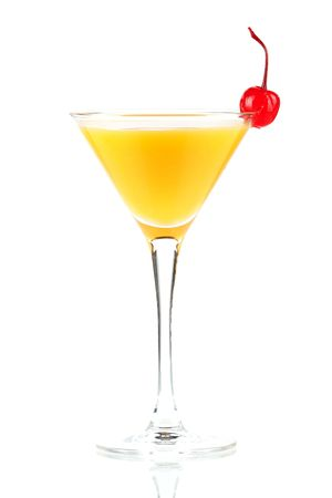 Alcohol cocktail with orange juice and maraschino isolated on white background