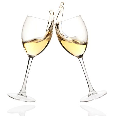 Photo pour Wine collection - Cheers! Clink glasses with white wine. Isolated on white background - image libre de droit