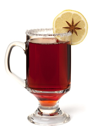 Photo pour Hot mulled wine with lemon slice. Isolated on white - image libre de droit