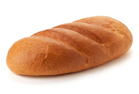 Long loaf bread. Isolated on white