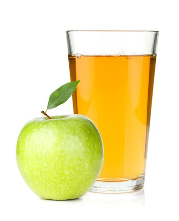 Apple juice in a glass and green apple. Isolated on white backgroundの写真素材