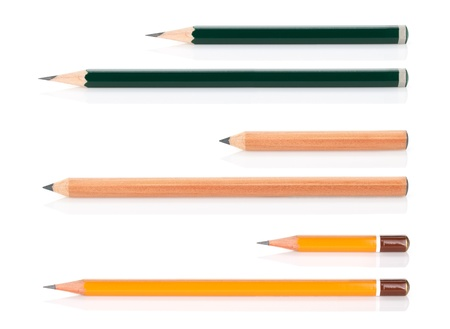 Wooden pencils various length. Isolated on white background