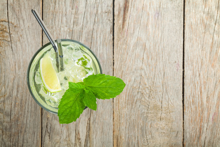 Fresh mojito cocktail on wooden table with copy space