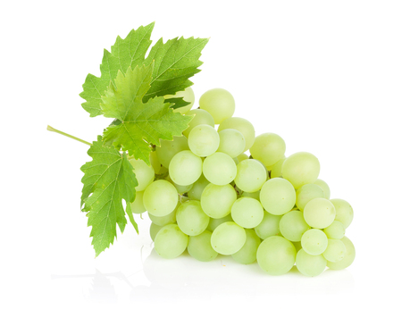 Bunch of grapes with leaves. Isolated on white background
