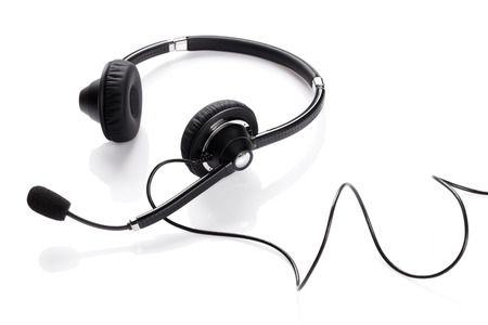 Photo pour Helpdesk headset. Isolated on white background - image libre de droit