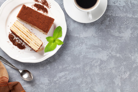 Photo for Tiramisu dessert and coffee on stone table. Top view with copy space - Royalty Free Image