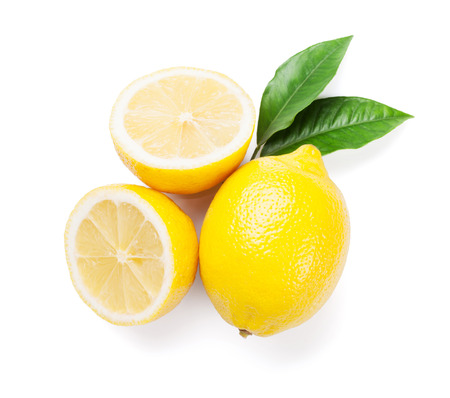Photo for Fresh ripe lemons. Isolated on white background. Top view - Royalty Free Image