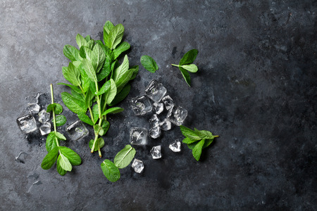 Mint and ice on stone table. Top view with copy space