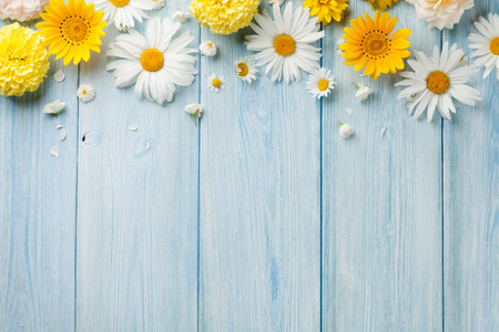 Photo for Garden flowers over blue wooden table background. Backdrop with copy space - Royalty Free Image