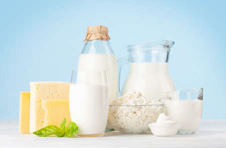Photo pour Various dairy products. Milk, cheese, cottage, sour cream. In front of blue background - image libre de droit
