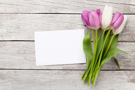 Foto für Tulip flowers bouquet. Easter greeting card template. With space for your greetings. Top view flat lay - Lizenzfreies Bild