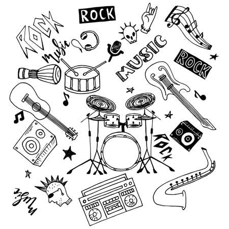 Illustration for Set of hand drawn rock and pop music theme isolated on white background, doodle set of Musical Instruments theme. - Royalty Free Image