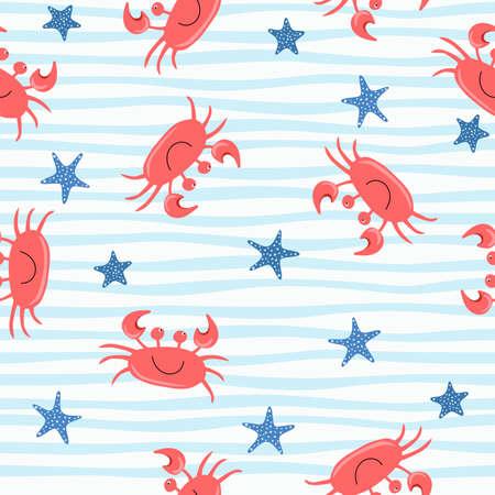Illustration pour Seamless cute crab pattern, cartoon hand drawn animal doodles vector illustration background. - image libre de droit