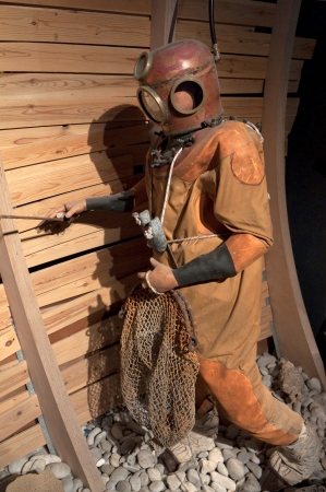 Old diver doll in a museum