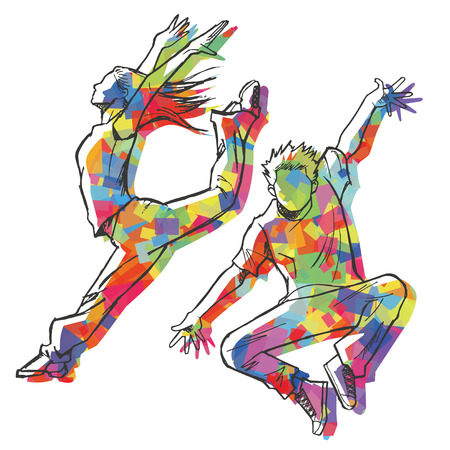 Sketching of the jazz dancer Colorful silhouette