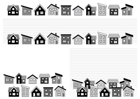 Illustration pour row of a simple house-monochrome- - image libre de droit