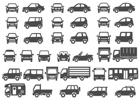 Ilustración de Gray silhouette of simple car-front and side- - Imagen libre de derechos